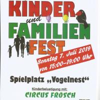 SPD OV Höchberg lädt ein zum Kinder- und Familienfest 7.7.2019 Spielplatz Vogelnest